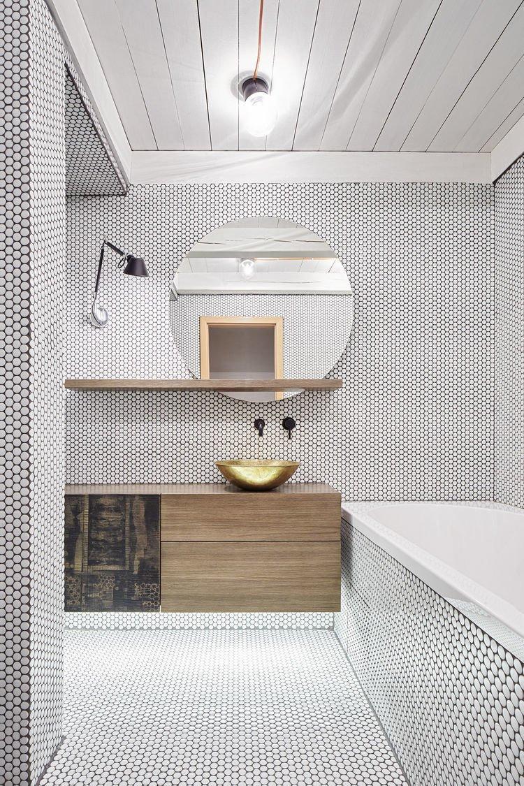 #bathroom #tile #industrial #brass Formafatal #Prague #Czech  Baths by Lara Deam from Texture