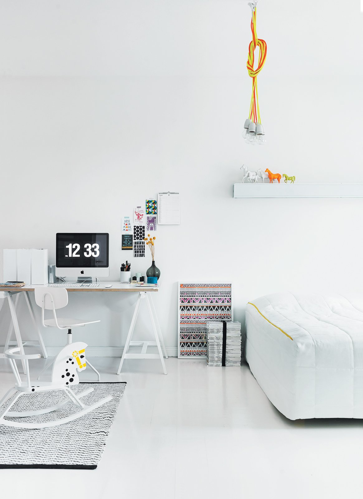#interior #design #interiordesign #masterbedroom #couchbed #ikea #ikeadesk #rockingchair #rockinghorse #modern #budget #susannavento #jussivento #helsinki #apartment #cozy #quirky #whiteinterior #white #palette #blackaccents #neon #glow #trestledesk #desk #huuto #homeoffice #lighting #chordlights #chordpendantlight