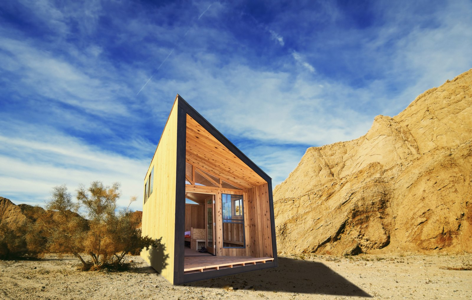 #prefab #desert #outdoor #exterior #outside #modern #midcentury #landscape #camping #Pomona #California  Cabin by DAVE MORIN