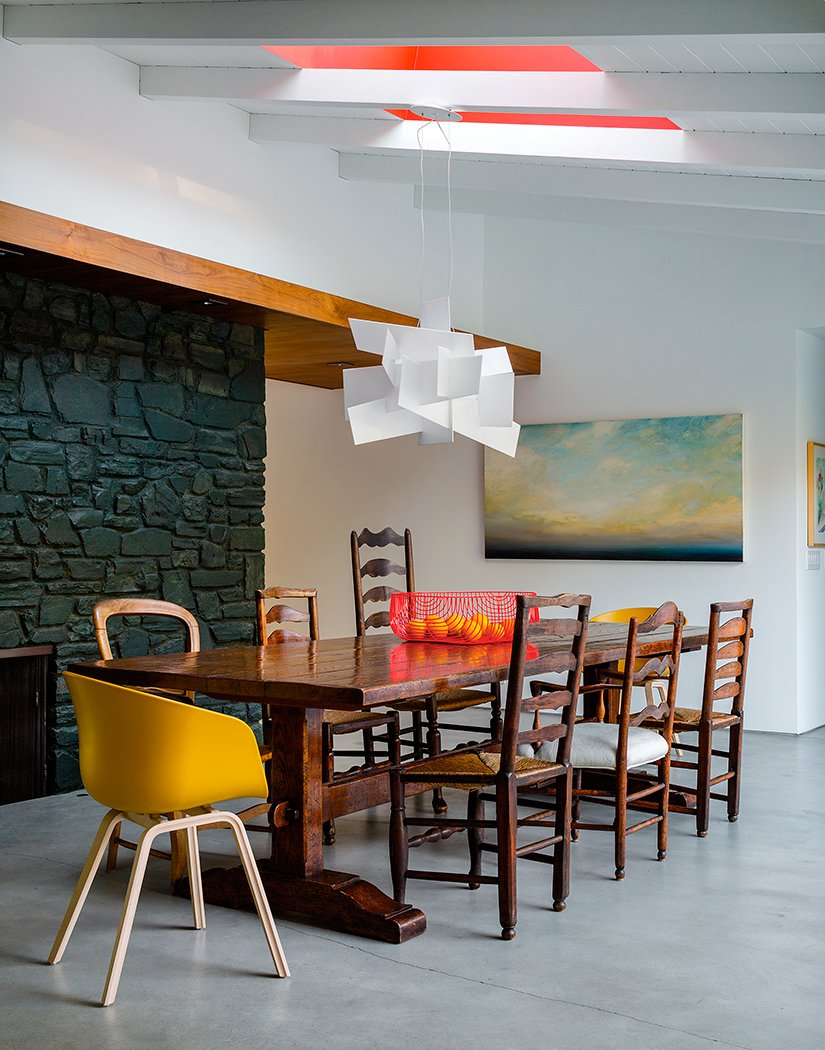 #interior #modern #inside #design #interiordesign #walnutpanels #red #yellow #color #minimalstspace #pendant #bigbang #foscarini #eames #wood #diningroom #diningarea #belair #ranchstyle #fruitbowl #wallart #chandelier #naturallight #seatingdesign #seating  100+ Best Modern Seating Designs by Dwell