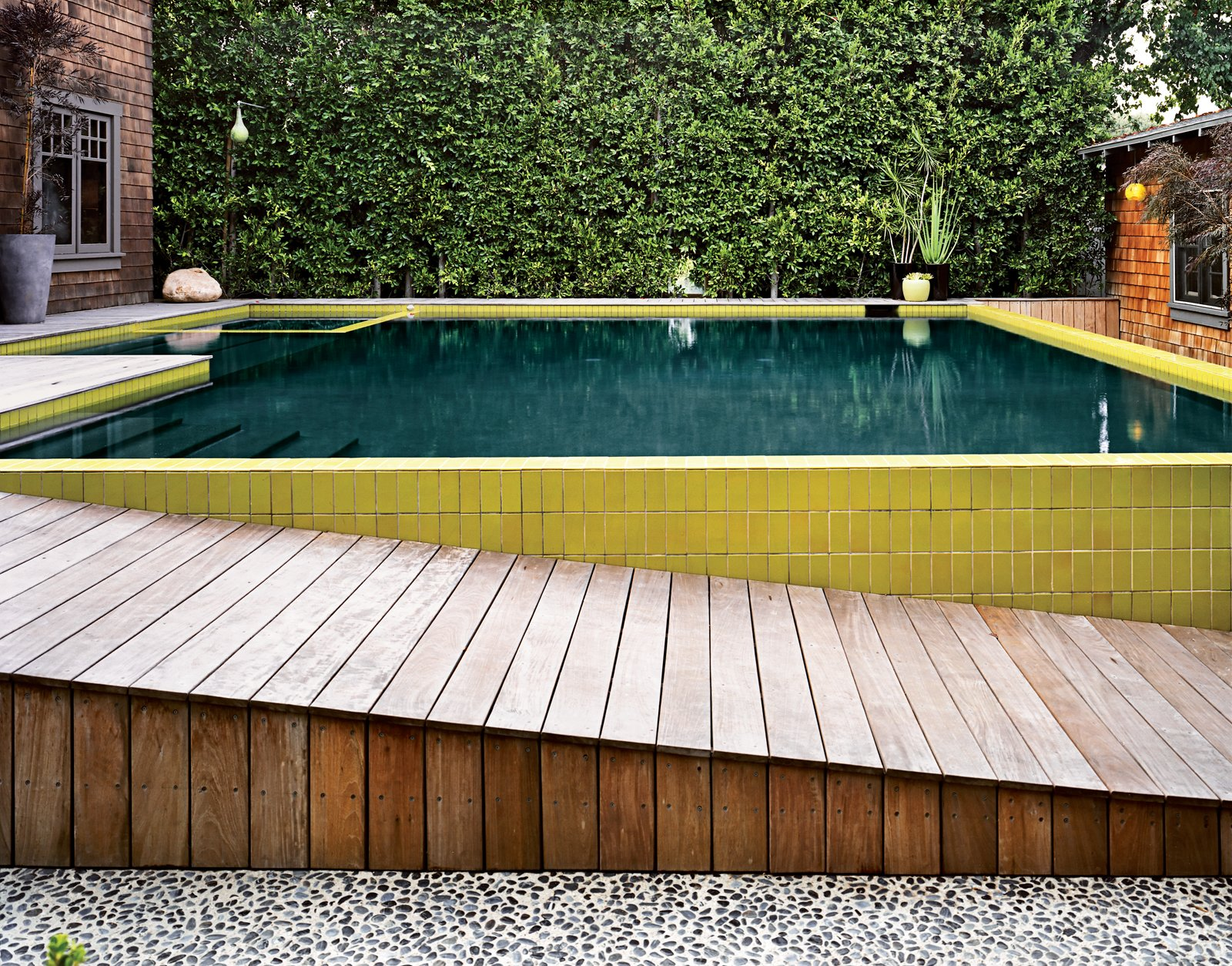 #pooldesign #pool #layered #exterior #outside #modern #minimal #color #tile #wood #stone #elevated #aesthetic #2008 #SantaMonica #California    Best Photos from outdoors