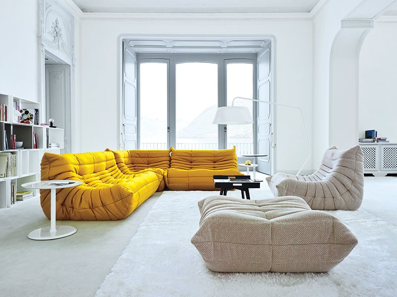 #seatingdesign #interior #inside #indoor #Togo #sofa #modern #mustard #yellow #modular #MichelDucaroy #LigneRoset #creative #anticonformist #comfortable #livingroom #lighting #window #storage #shelves   100+ Best Modern Seating Designs by Dwell