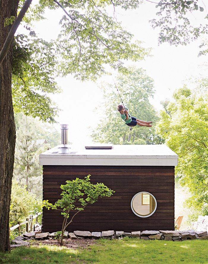#smallspaces #exterior #outdoor #outside #landscape #swing #tinyhouse #tiny #window #wood #mahogany #tree #TimFergusonSauder #MegFergusonSauder #Gloucester #Massachusetts   Cabins & Hideouts by Stephen Blake