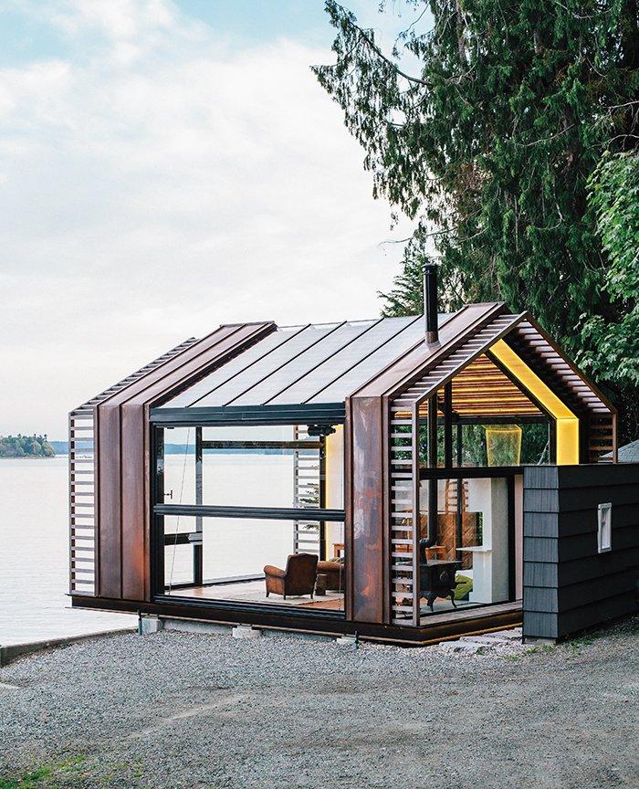 #smallspaces #tinyhouse #garage #copper #window #glass #steel #livingroom #PugetSound #VashonIsland #BillTrue #RuthTrue #Graypants