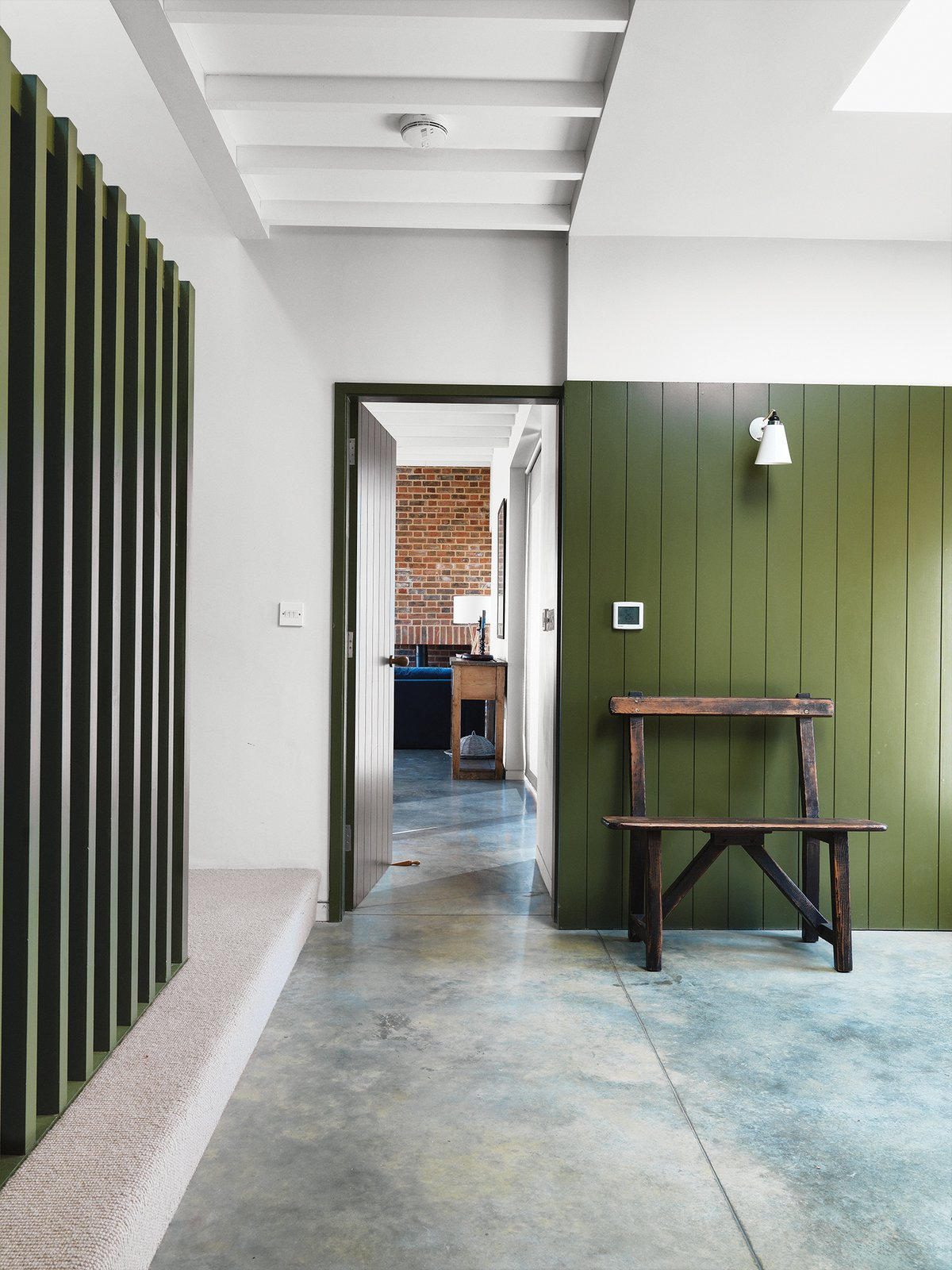 #color #huntergreen #wood #panel #farmhouse #interior #minimal #bench #antique #Suffolk #England #LucyMarston  36+ Interior Color Pop Ideas For Modern Homes by Dwell