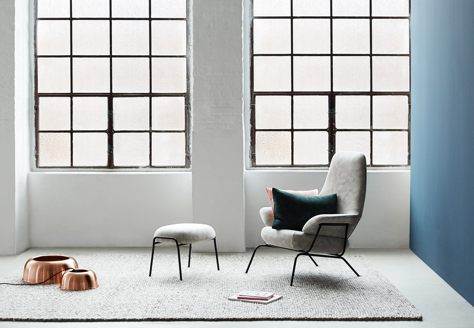 #seatingdesign #seating #Hai #chair #livingroom #window #rug #light #blue #copper #LucaNichetto #minimalist #modern #interior #inside #indoor  100+ Best Modern Seating Designs by Dwell