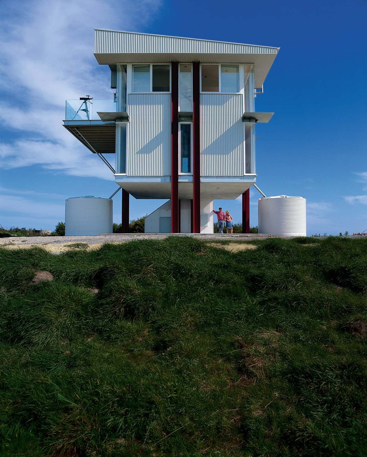 Gerard Kitchener and his partner Denise spend most weekends on top of an exposed hill in a two-level steel-and-glass tower on stilts. Tagged: Exterior, House, and Metal Siding Material.  Prefab Homes by Dwell from Rising to the Occasion