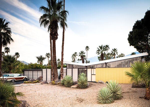 A tract house with a butterfly roof designed in 1956 for Joe Dunas.