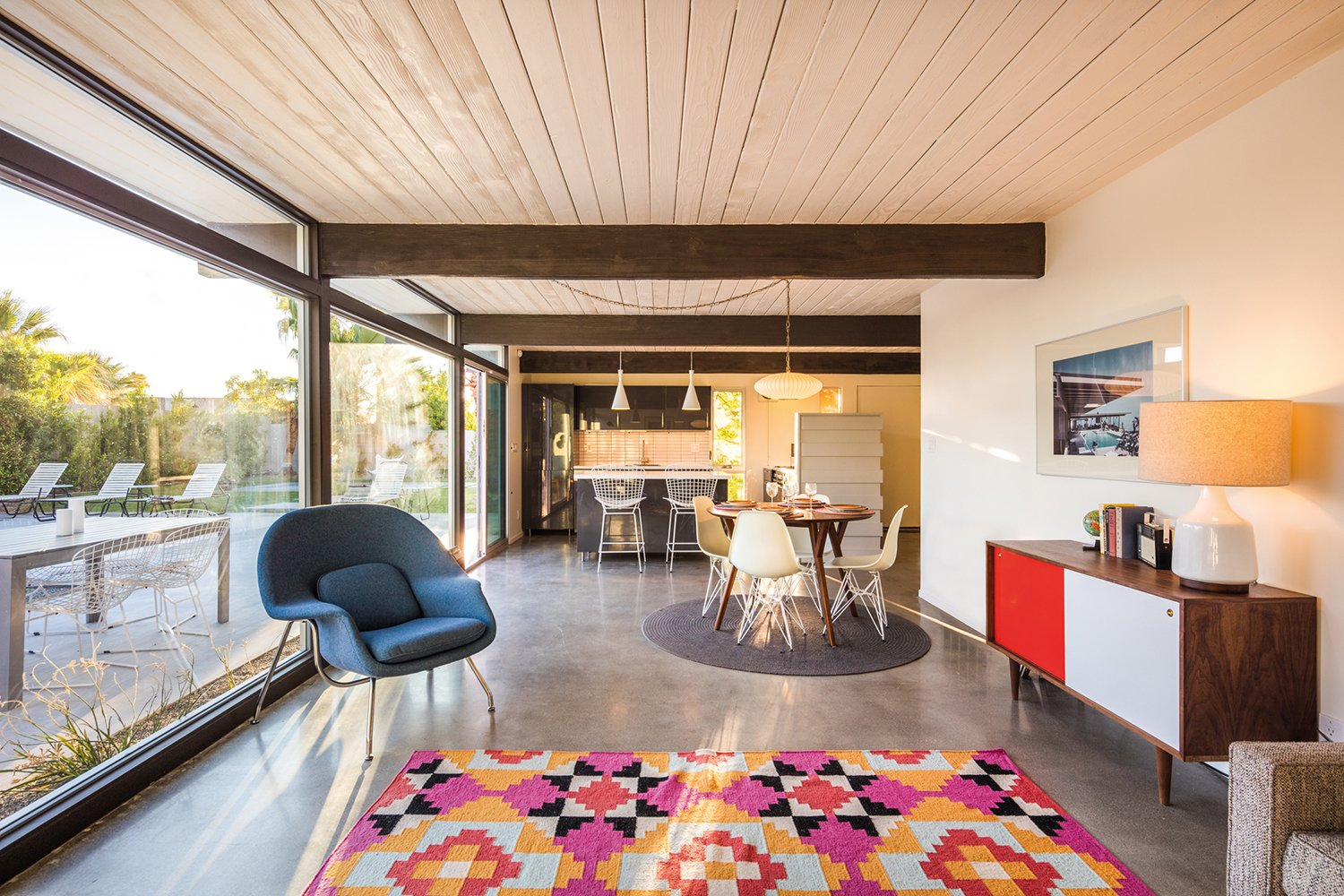The Buzyn residence features an open-plan interior.  A Crash Course in Palm Springs Architecture by Matthew Keeshin from Midcentury Lovers: You Can Thank This Architect for Transforming Palm Springs Into a Modernist Hotbed