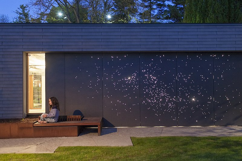 Architect Janna Levitt devised a creative emellishment for a residence in Canada. Photo by: Philip Cheung Tagged: Outdoor.  Top 5 Houses on Dwell This Week September 12, 2013 by Eujin Rhee from Starry Night: Outdoor Wall Light Installation