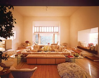The Opulent Modernism of Platner - Photo 6 of 13 - Platner designed his own house in Guilford, Connecticut, in 1970, as a set of pavilions centered on a great room. At the center of the great room was a fur-covered sofa surrounded by more furniture, in tones of taupe and tan, of Platner's own design.