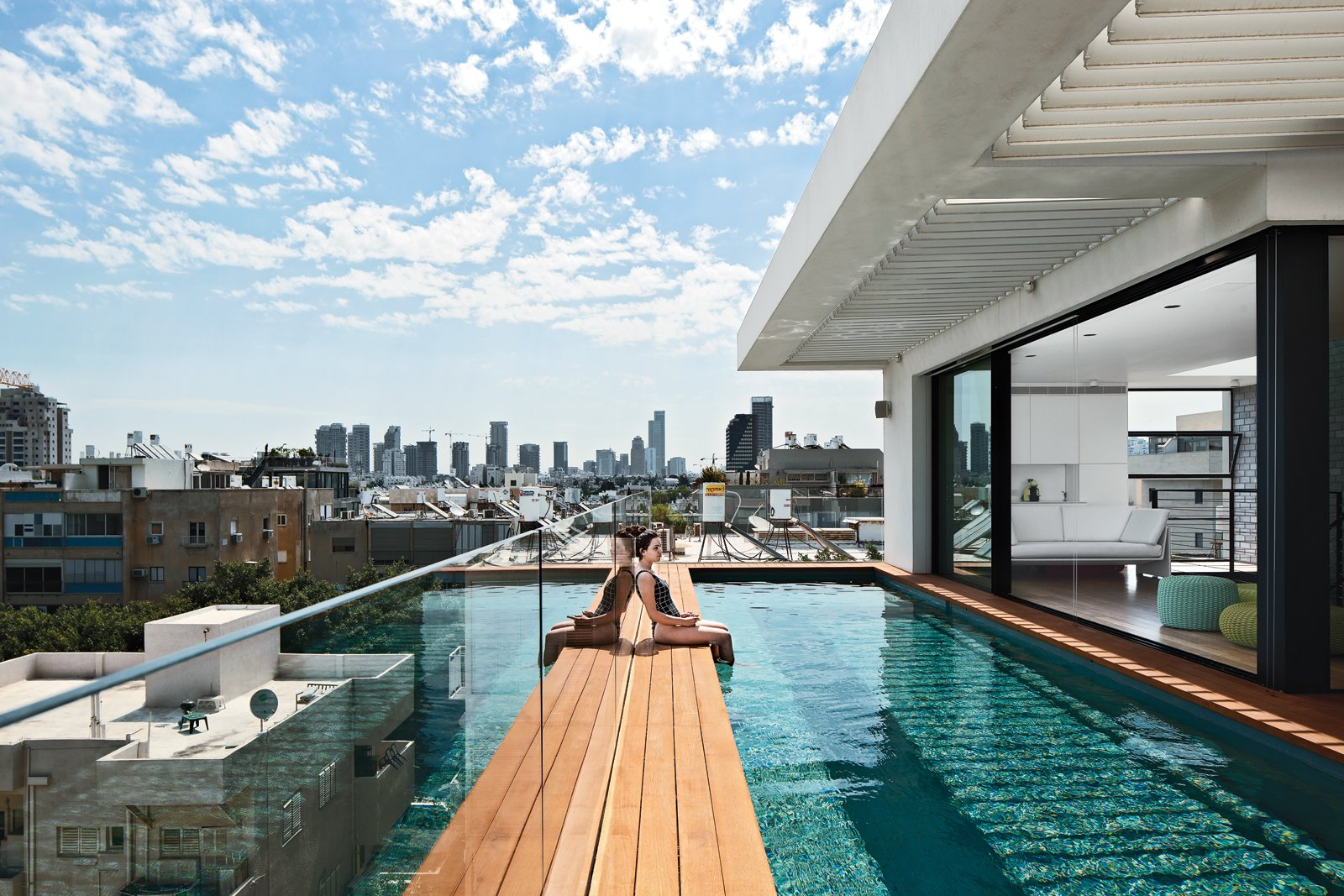 """""""Tel Aviv is different from the rest of Israel. This is one of the most modern cities in the world."""" —Architect Pitsou Kedem  Cannonball! Jump into These Modern Pools by Matthew Keeshin from Modern High-Rise Town House in Tel Aviv"""