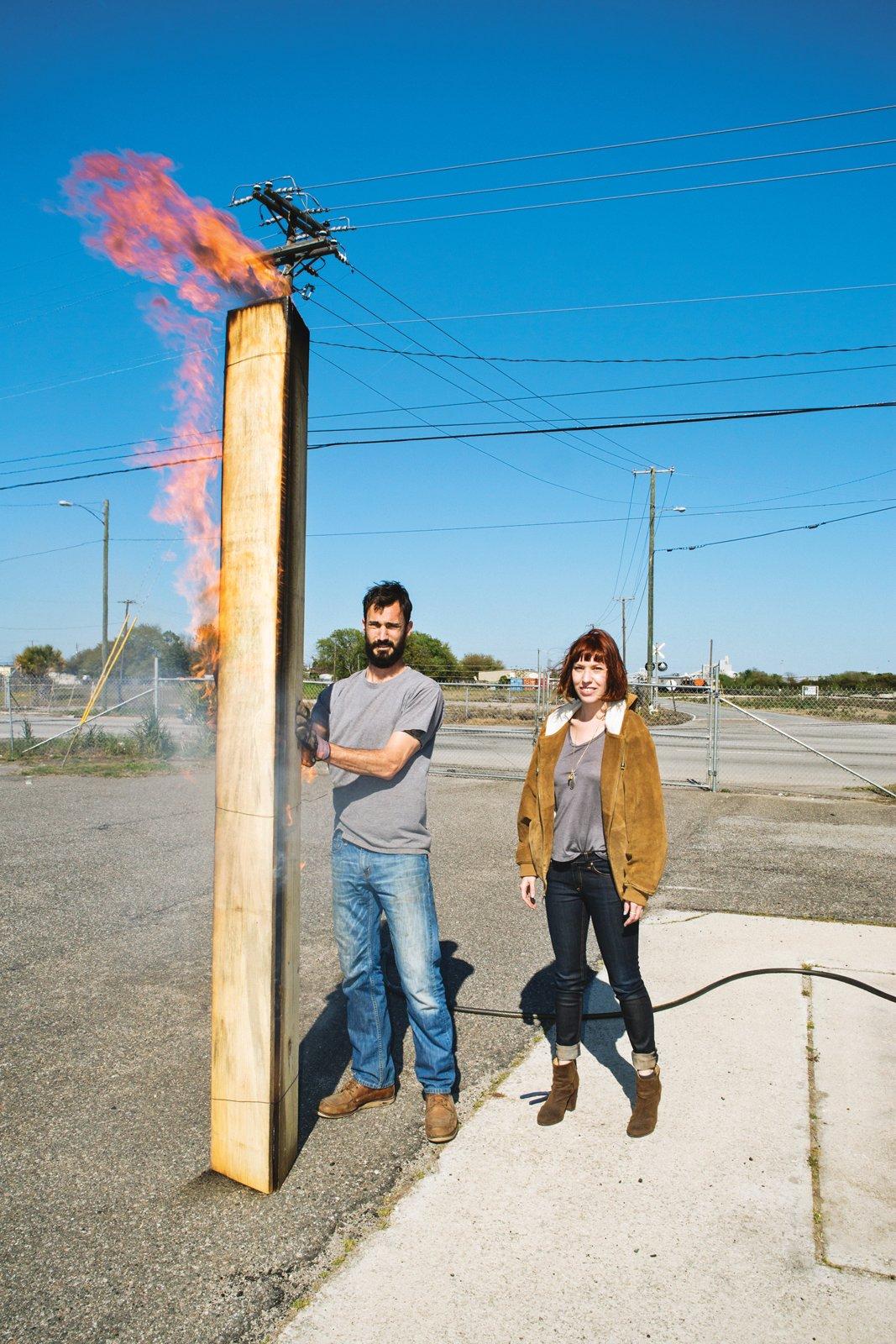 Michael James Moran and Celia Gibson demonstrate shou-sugi-ban, a Japanese wood burning technique.