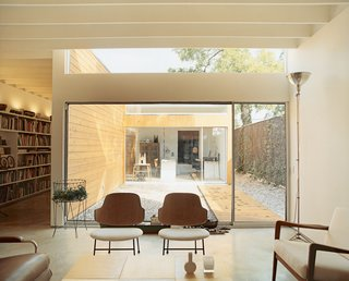 "The house is organized around three courtyards. The largest serves as an outdoor room between the living space and Baum's office, which he calls the ""flex room."""