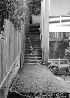 The original exterior had Astroturf-covered stairs.