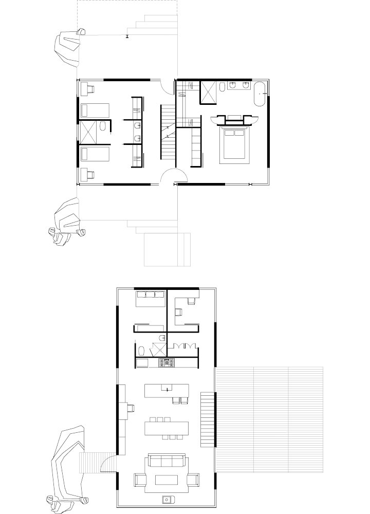 Sunshine Canyon House Floor Plan  A Living AreaB Dining Area  C Kitchen  D Roof Deck  E Pantry  F Bathroom  G Bedroom  H Office  I Bridge  J Porch  K Master Bedroom  L Closet Sustainable Retreat on a Fire-Devastated Site in Boulder - Photo 6 of 7