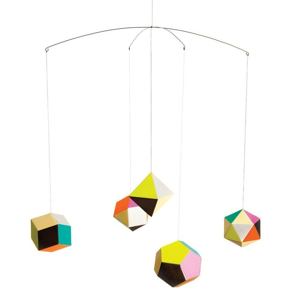 Themis Mobile Designed by Clara Von Zweigberk for Artecnica via Dwell Store $37.00  Inspired from the polyedra, designer Clara von Zweigbergk created this suspended graphic and delicate mobile to add a playful touch of vibrant color to any room.  Holiday Gift Guide: The Mini Modernist  by Jami Smith