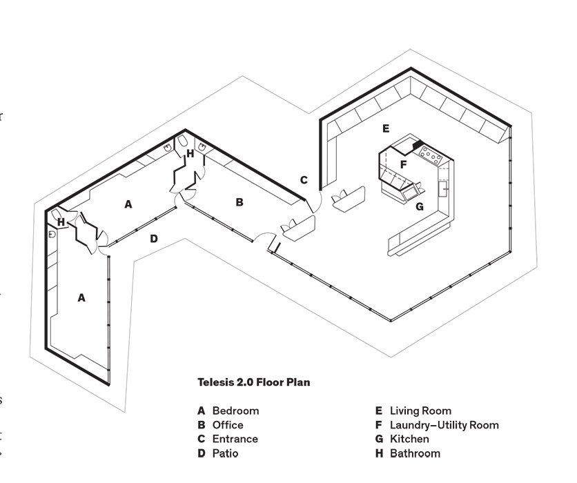 Telesis 2.0 Floor Plan  A    Bedroom  B    Office  C    Entrance  D    Patio  E    Living Room  F    Laundry–Utility Room  G    Kitchen  H    Bathroom  Photo 10 of 10 in The Midcentury Home That Maintains Its Quirkiness After All These Years