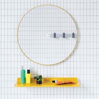 10 Ideas For the Minimalist Bathroom of Your Dreams - Photo 10 of 10 - Sabi's Mirror by MAP is designed for universal use. Installation is a breeze: Punch out the to-scale template from the packaging and hang it with the included adhesive or easy-mount screw.