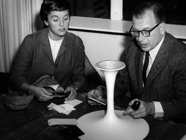 Saarinen at work on the Pedestal model. He started with hundreds of drawings, and moved on to ¼ scale models, which were then set up in a room the size of a dollhouse.