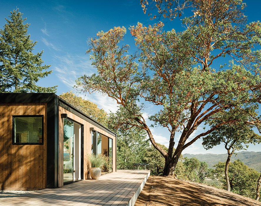 """Though the daughter didn't want all-glass walls, natural light and airflow were key. Levy and Connect:Homes fellow cofounder Gordon Stott used an LED system to offset light from windows and doors. Says Stott, """"It's about 150 watts to light the whole house."""""""