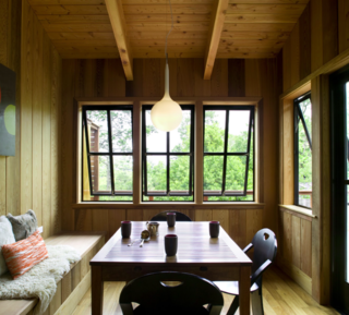 5 Main Ingredients For Cooking Up a Homey Kitchen Nook - Photo 1 of 8 - This dining nook is fully clad in Western cedar, augmenting the home's connection to the outdoors.