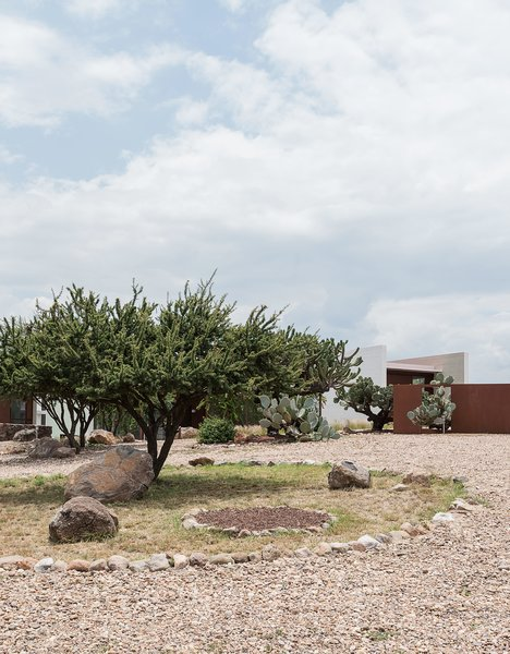 "Crushed stone paths and native plantings, including cacti, wildflowers, and grasses, encompass the surrounding landscape. ""We're nothing but natural,"" says Austin. ""The cacti, to me, are like pieces of sculpture, each with their own personality. I even named some."""