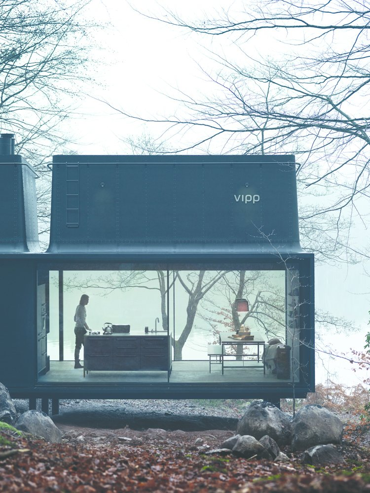 In 2015, Vipp introduced a 592-square-foot prefab unit called Shelter. It's equipped with a freestanding island from the brand's kitchen line.  Modern Winter Retreats by Aileen Kwun from Turns Out Matte-Black Kitchens Are Fool-Proof