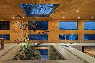 "10 Thoughtful Ways to Incorporate Trees Into Homes - Photo 9 of 10 - The building is composed of a partially-buried concrete box covered with a well-insulated cedar-and-larch shell (what Maeda calls ""the nest"" and ""the fallen leaves"")."