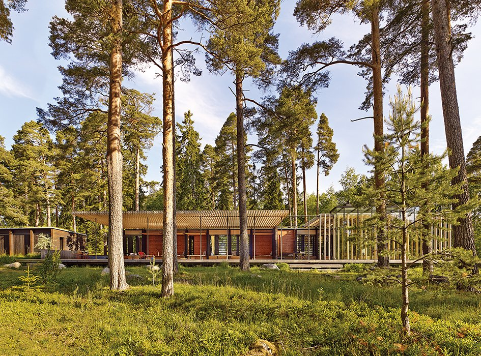 The pine forest around the complex provided the architects with their color scheme. Tagged: Exterior, Flat RoofLine, Wood Siding Material, and House.  Photo 5 of 8 in How a 1,000-Year-Old Technique Made This Pavilion
