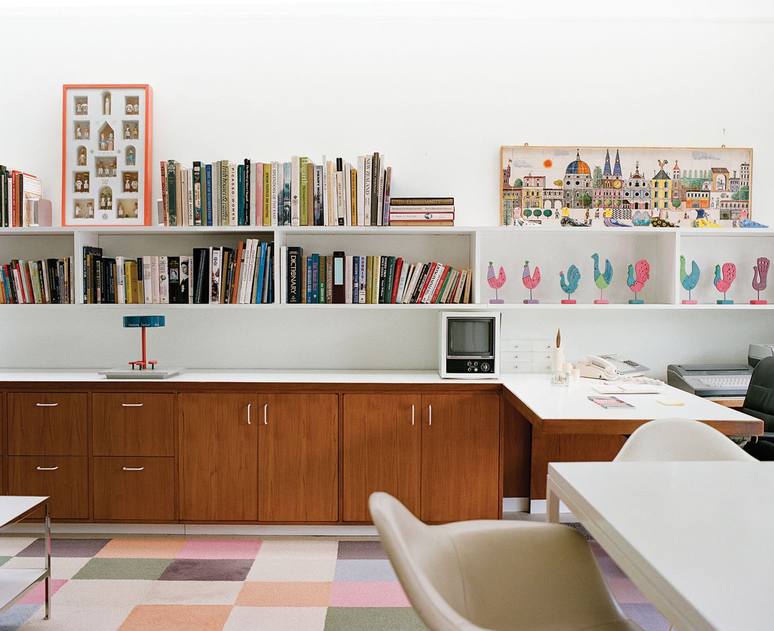 The playroom later became Xenia's office. Storage by Dwell