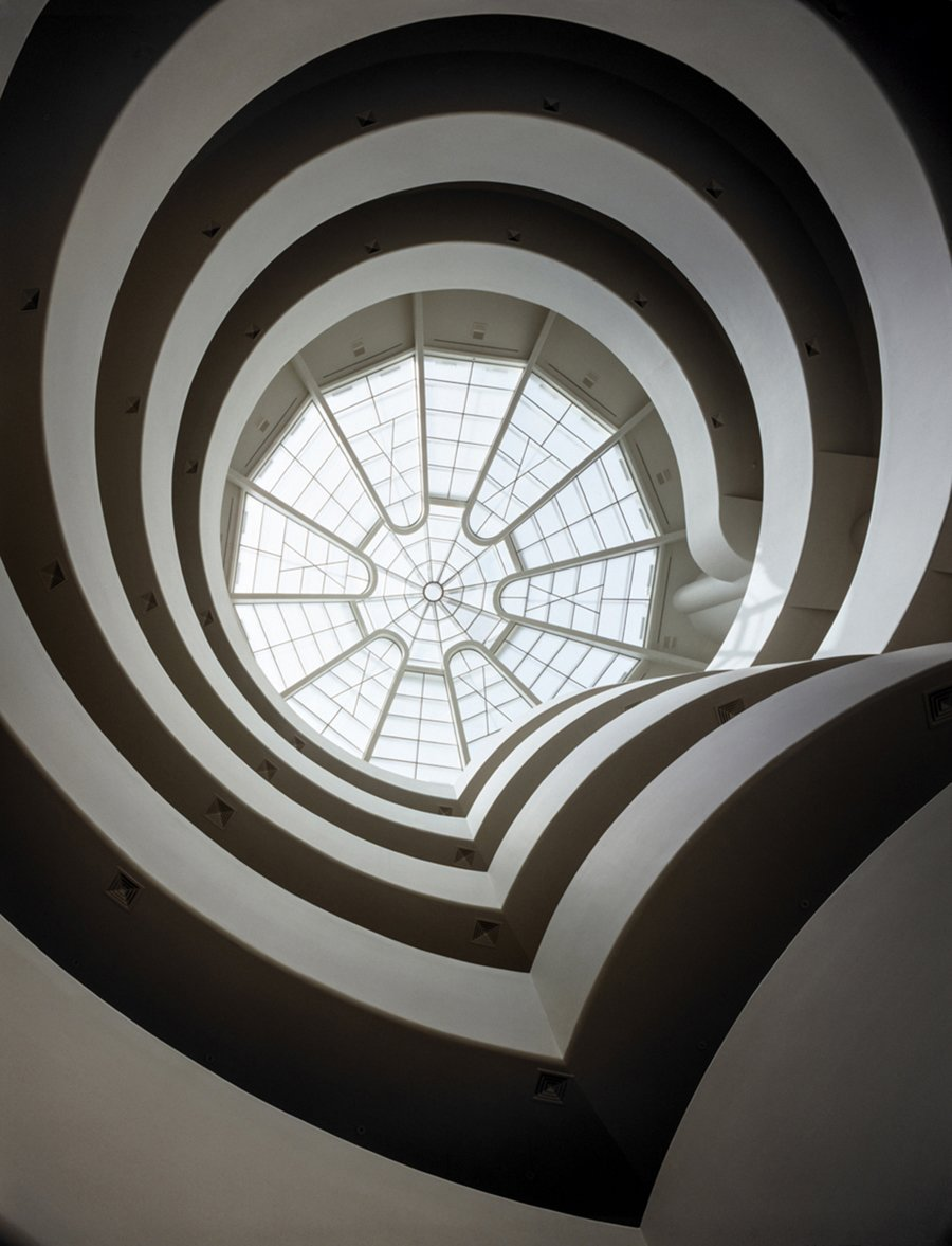 Solomon R. Guggenheim Museum (1943, New York, New York). The museum, with its sweeping spiral staircase, is an international icon.