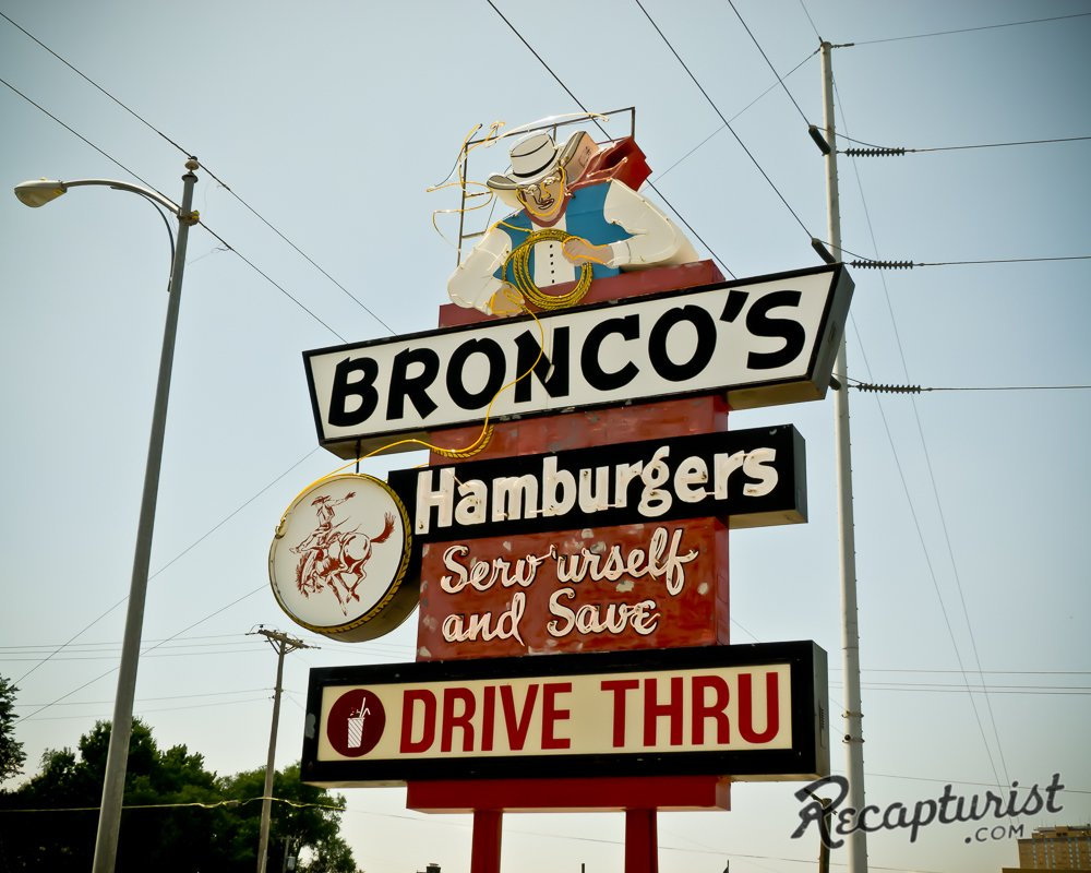The signs hail from all corners of the United States, like Bronco's Restaurant in Omaha, Nebraska.