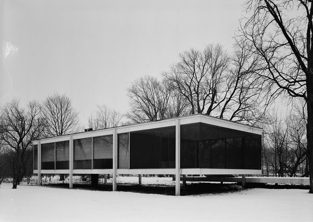 Over 50 miles outside of Chicago, one of Mies's most famous commissions, the Farnsworth House, lies. The one-room weekend retreat, built of steel and glass, is representative of the International Style. It was designated a National Historic Landmark in 2006.  Midcentury Homes by Dwell from We Love You, Mies van der Rohe