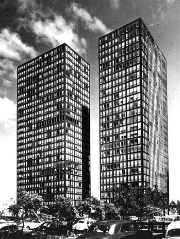 Exterior of Mies van der Rohe's Lake Shore Drive apartments, circa 1951. Photograph by Richard Nickel.  buildings by pulltab from Harboe's Marks