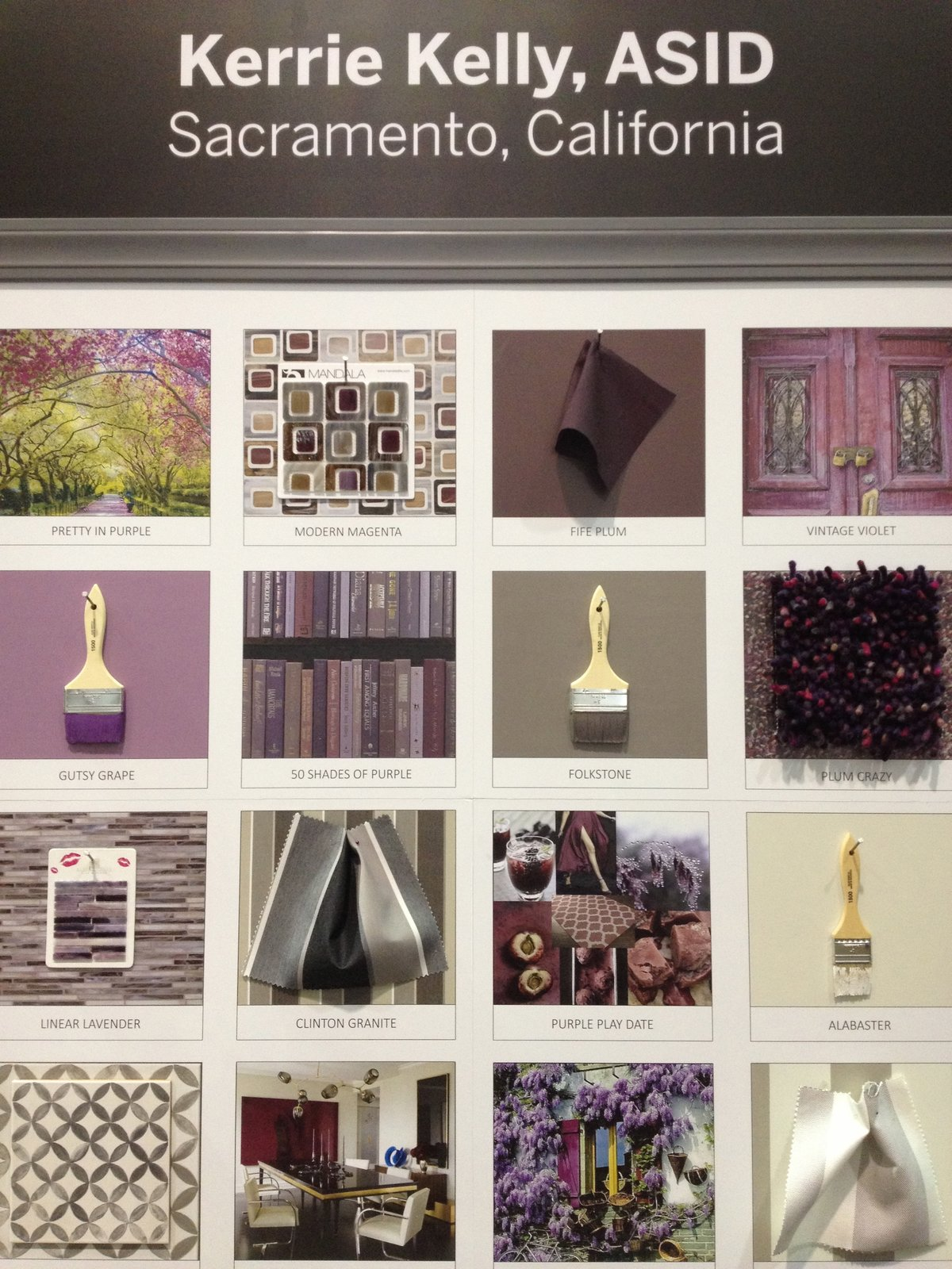 Kerrie Kelly, an ASID designer out of Sacramento, rocked the purple for her Pinspiration.  Pinboards Come to Life in the Pinterest Pavilion by Erika Heet from Ways to Design With Purple
