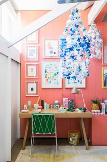 15 Modern and Creative Spaces For Kids - Photo 13 of 15 - The kids' room designed by Lucy Feagins is especially vibrant, with Tango-painted walls by Delux, artwork by Rachel Castle and Beci Orpin, handmade beaded chandeliers by Emily Green, and a kicky pineapple lamp by Down to the Woods.
