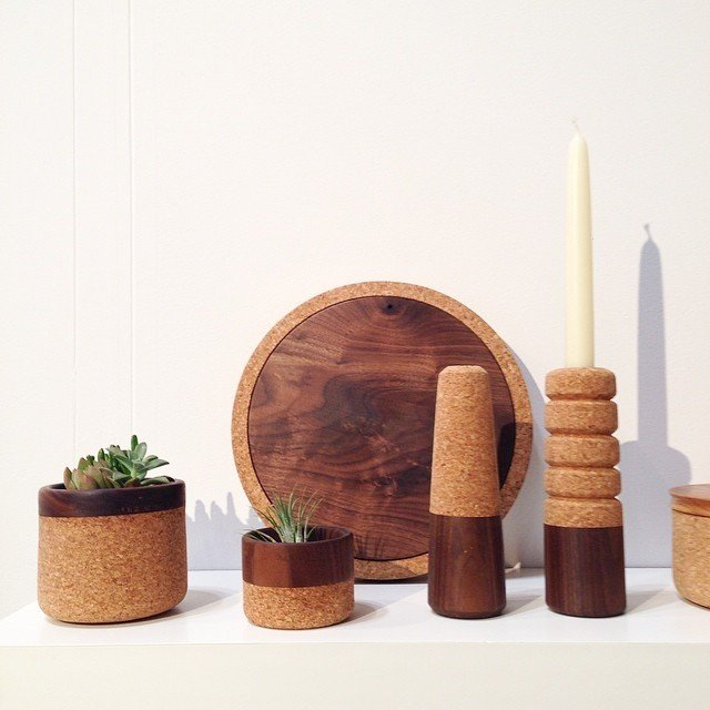 Hand-turned candlesticks, planters, and serving board made from wood and cork by Oakland-based designer and maker Melanie Abrantes.  Home Design Finds from NYNow 2015 by Diana Budds
