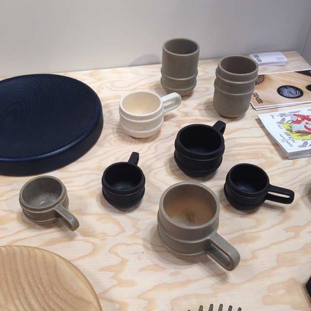 L.A. design studio 100xbtr created a 3D-printed model to cast the mold used for these ceramic mugs.  Home Design Finds from NYNow 2015 by Diana Budds