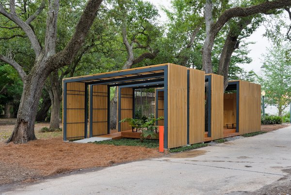 """The 1,000-square-foot pavilion was completed in 2009 as a volunteer structure and tool shed--though today its used far more by the public than initially anticipated. """"The garden was wiped out after the storm,"""" McKay recalls. """"There was nothing, zero. Volunteers came in and replanted everything."""" Photo by Frank Doering."""