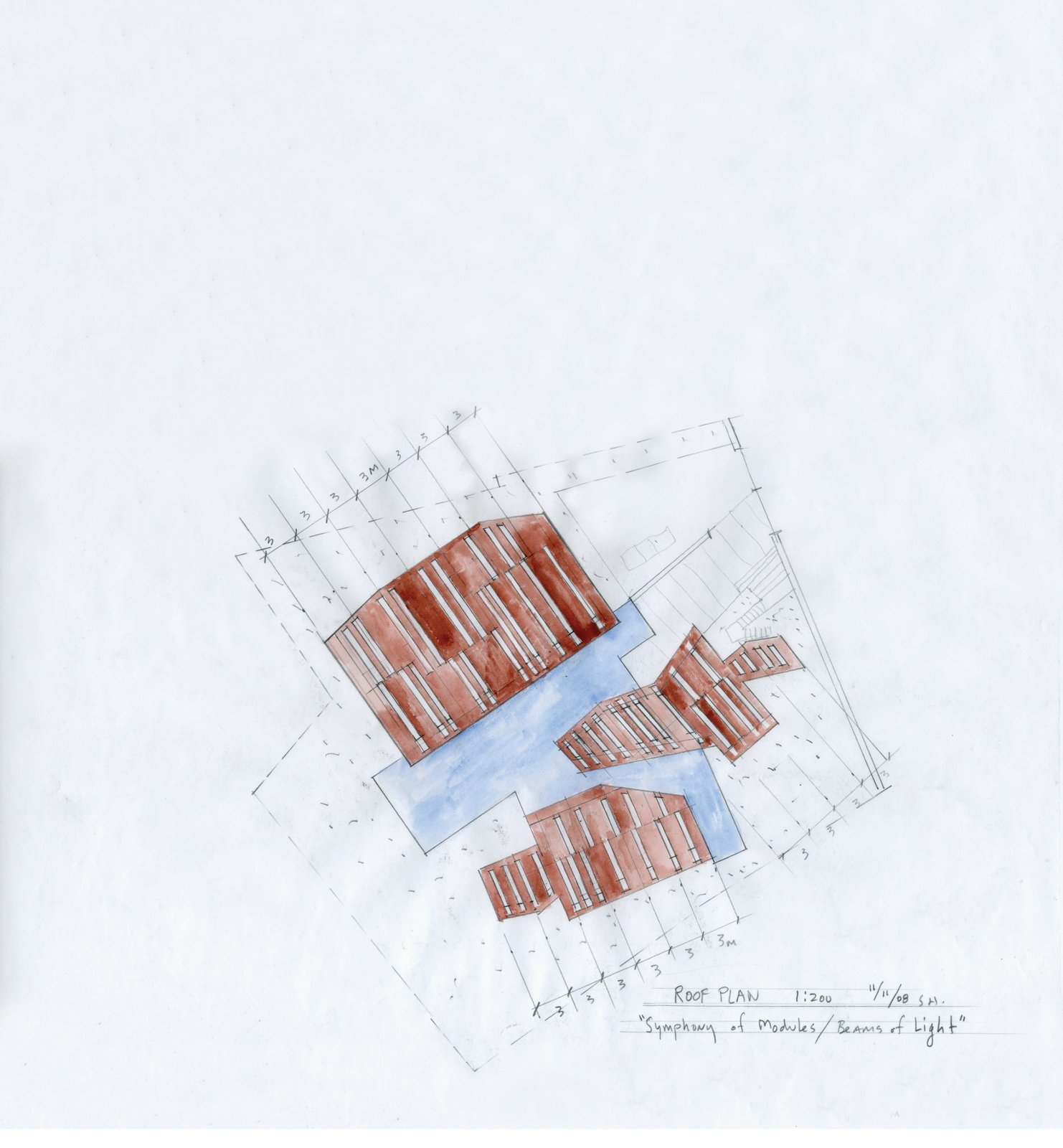 A watercolor by architect Steven Holl was an early step toward translating an obscure musical score by István Anhalt into a new home and gallery in Seoul, South Korea  Photo 7 of 7 in Music Holl: A Copper Clad Pavilion in Seoul