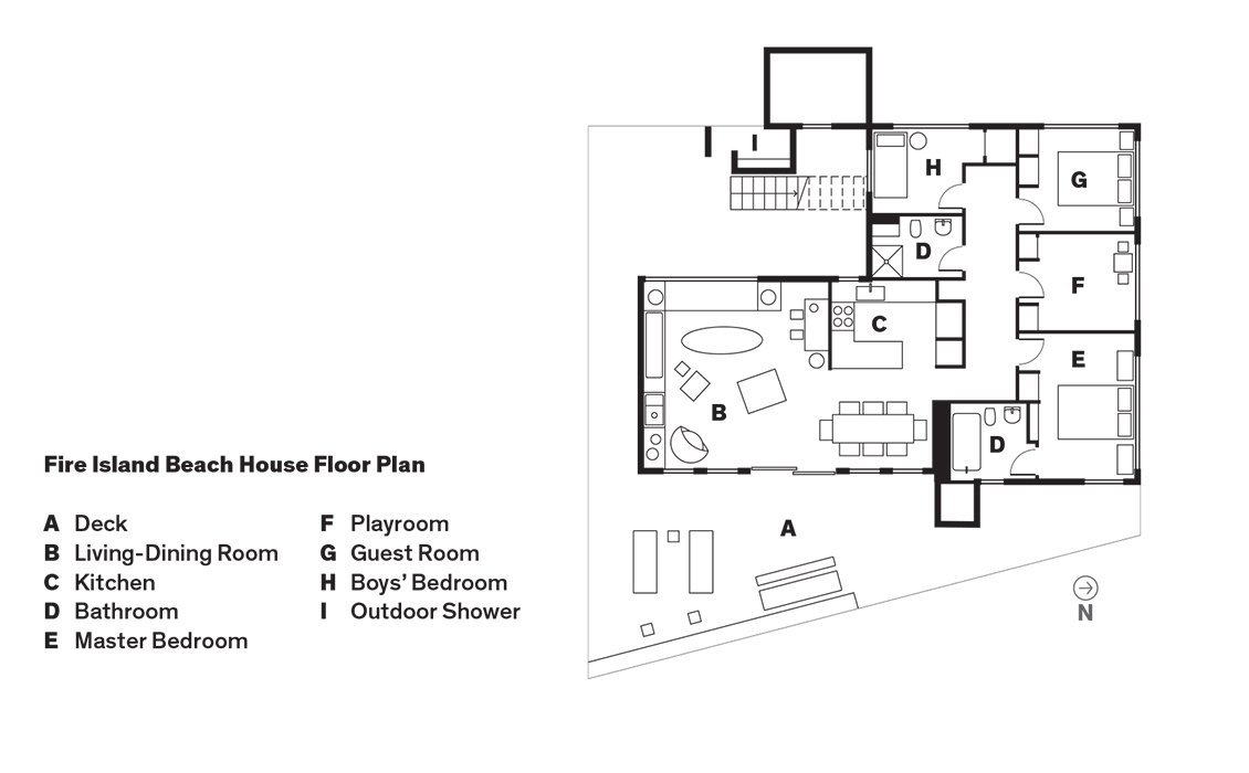 Fire Island Beach House Floor Plan  Photo 8 of 9 in Smart Interior Update Shows When a Gut Renovation Isn't Necessary