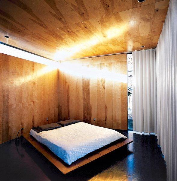 Thomas Bercy's austere bedroom.