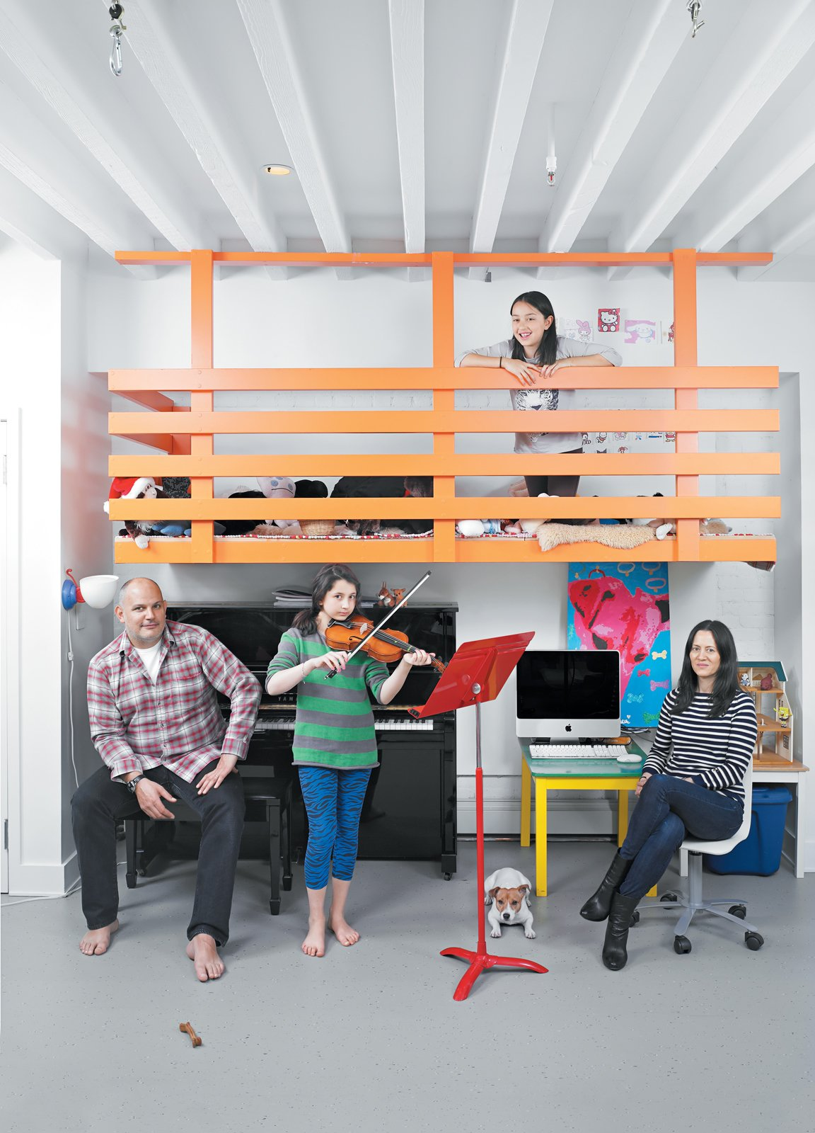 A Dine family portrait in front of the loft clubhouse Nick and Vanessa built for their daughters. As the girls get older, the playroom will transform into a family office. Tagged: Bedroom.  Photo 4 of 12 in Fine Dine-ing