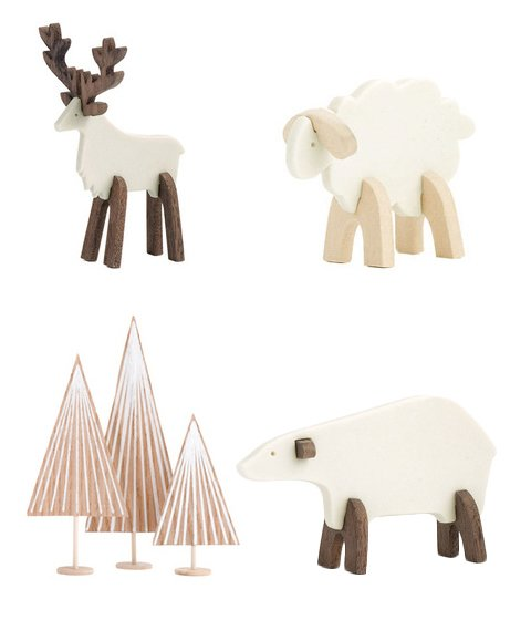 Decorate the mantle.  MÜZO COLLECTIBLESCanadian ceramicist Paige Russell's Müzo collection features a mix and match of porcelain and wood figurines—woods, caribou, sheep, and polar bear—that make a wintry, minimalist statement on your mantle.