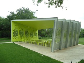 A Modern Park Pavilion Rises in Dallas - Photo 2 of 7 - The arresting lime-green interior makes the pavilion at once blend with and stand out from its surroundings. Photo by Architexas.
