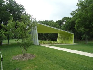 A Modern Park Pavilion Rises in Dallas - Photo 5 of 7 - The pavilion sits in a clearing amid pecan, oak and mesquite trees. Photo by Architexas.