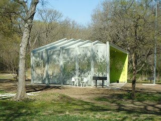 A Modern Park Pavilion Rises in Dallas - Photo 6 of 7 - A shallow gabled roof slopes gently from a front corner to the pavilion's rear. Photo by Architexas.