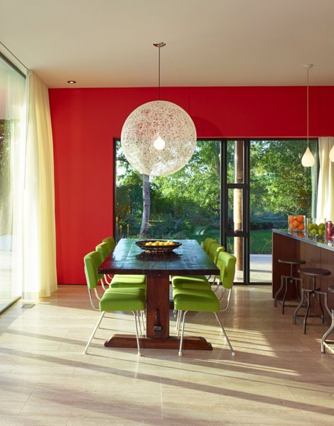 Inspired by Scandinavian and Mexican contemporary and traditional design, the Sunrise house has a bright, clean, and eclectic color palette.