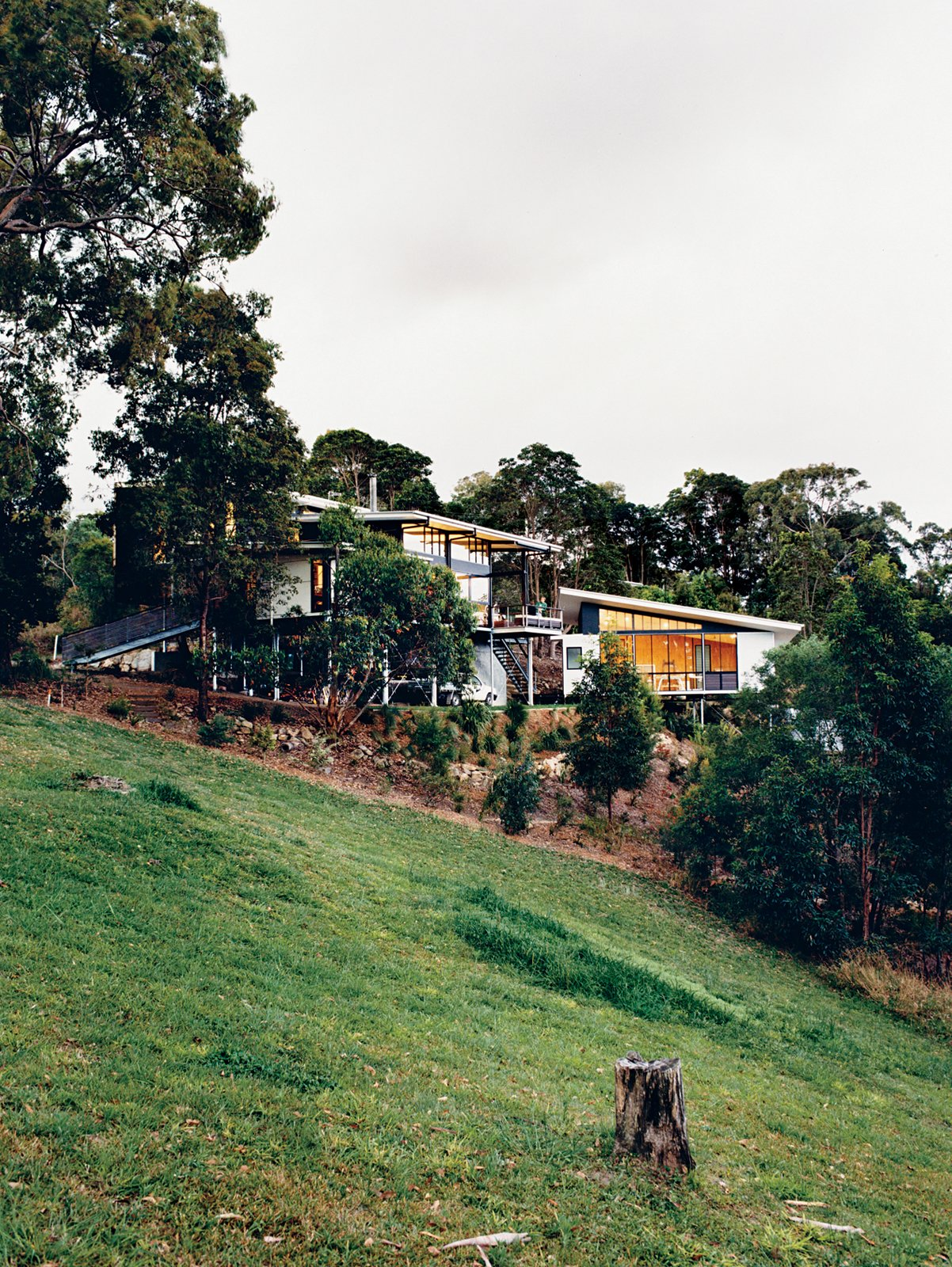 The Tinbeerwah house and studio keep a low profile among the site's eucalyptus trees. Hillside Family Home in Australia - Photo 1 of 12